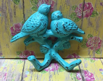 Cast Iron Antique Style Double Bird Hook Bahama Blue Distressed Towel Cup Keys Leash Pot Holder Jewelry Hat Scarf Decor Shabby Chic