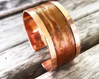 Sweet and Sassy Copper Cuff   Fold Formed and Wrapped Copper Cuff Bracelet   Liquid Textured Cuff Bracelet   Folded Copper Cuff Bracelet