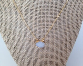 15% OFF SALE Dainty White Natural Druzy Pendant Necklace 14K Gold Filled // Boho Jewelry // Boho Luxe // Boho Necklace