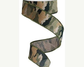 """SALE 1.5"""" x 10yd camouflage ribbon, wired camouflage ribbon, camo ribbon, camo wired ribbon, camouflage wired ribbon, camo, camouflage, ribb"""