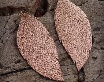 Leather Feather Earrings, Rose Gold Pebbled Leather Earrings
