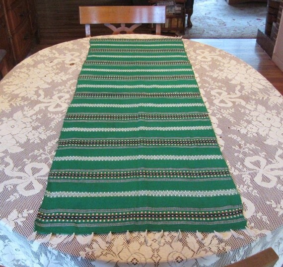 Scandinavian Woven Green Table Runner Free Ship