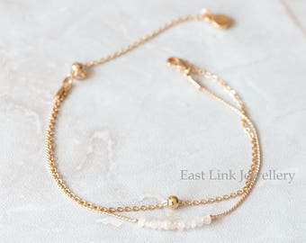 Handmade petite style 14K Gold plated natural stone crystal April birthstone bracelet birthday gift beaded chain bracelet