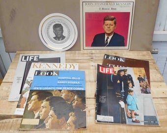Lot Of John F. Kennedy Memorabilia Record,Plate And 5 Magazines,Vintage,JFK, President