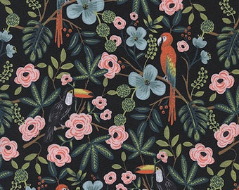 Menagerie - Paradise Garden Midnight - Rifle Paper Co - Cotton and Steel (8028-1)