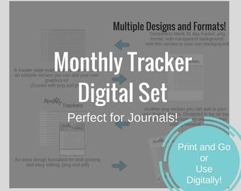 Journal Printables - 31 Day Tracker Digital Set (png and pdf -- multiple designs included!)