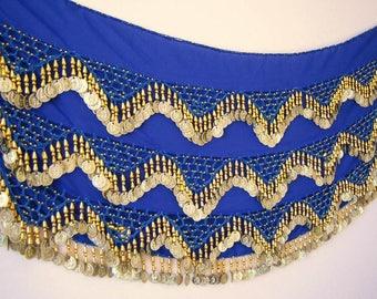 High Quality Handmade Belly Dance Hip Scarf Coin Belt Wrap Skirt Costume...BLUE