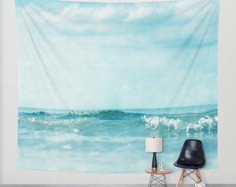 Ocean Tapestry. Home Decor. Large Size Wall Art. Photo tapestry, dreamy tapestry mint decor abstract nursery decor mint sea blue