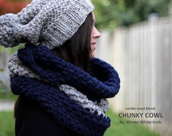 WOODLAND COWL, Chunky cowl hood, Design your own cowl color combination, Oversized cowl, Knit snood, Infinity scarf cowl, Large cowl