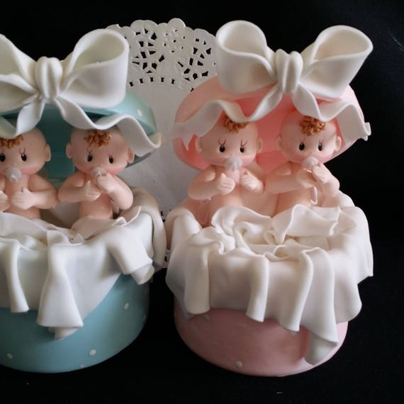 Twin Baby Shower Cake Toppers: Twins Baby Shower, Twin Girls Cake Topper, Twins Baby