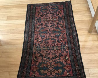 Vintage oriental scatter rug- pinks, navy blue, blues just slightly smaller than 3ft by 5 ft