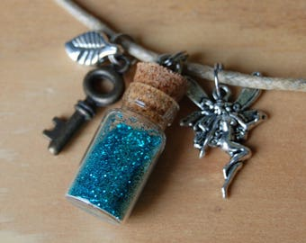 Mini Sky Blue Fairy Dust Bottle Necklace, Key & Leaf Charm