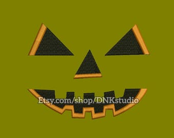 Halloween Pumpkin Face Embroidery Design - 6 Sizes - INSTANT DOWNLOAD