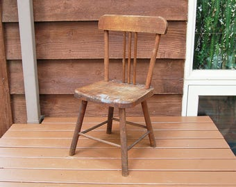 Paris Mfg Childs Chair, Vintage Maple Wood Childs Chair, Vintage Wooden  Child Chair,