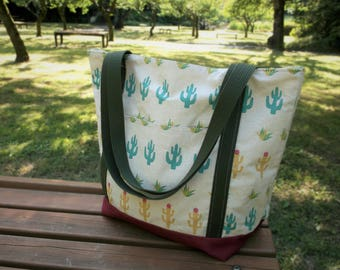Cuddly Cactus Tote Bag - cotton and canvas versatile tote bag - shopping bag - beach bag - Made in Japan