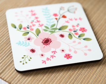 Floral Coaster, Coaser with Flowers, Gift for Mum (OHSO964)