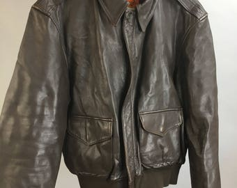 Brown Leather Flight Jacket// Vintage Bomber Jacket// 70s Vintage Leather Jacket (F1)