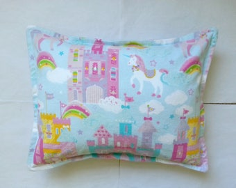 unicorn palace flannel toddler pillowcase kid pillowcase child pillowcase girl pillowcase travel