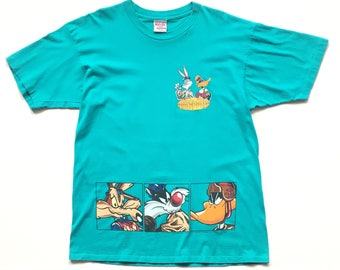 1993 LOONEY TUNES warner brothers t shirt size xl novelteez tee turquoise teal single stitch bugz daffy wile E sylvester tweety