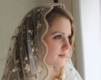 Evintage Veils~ ST Therese Little Flower Soft Ivory Embroidered Lace Chapel Veil Mantilla Infinity Veil Latin Mass