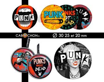 Punk  • 45 Images Digitales RONDES 30 25 20 mm rebelle rock punk clash épingle nourrice mediator pick guitare london