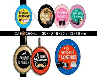 Liste de Noël  45 Images Digitales OVALES 30x40 18x25 13x18 mm escarpin new york londres lisbonne sac chocolat moustache venise
