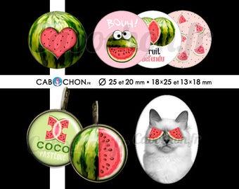 Coco Pasteque • 60 Images Digitales RONDES 25 et 20 - OVALES 18x25 et 13x18 chat pasteque fruit défendu sexe clitoris humour coeur tranche