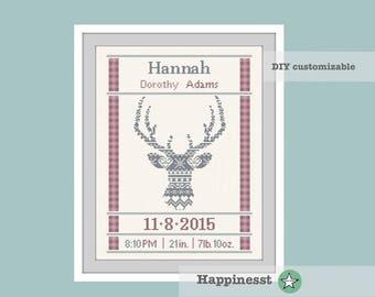 cross stitch baby birth sampler, birth announcement, nordic deer, deer, woodland, baby girl, DIY customizable pattern** instant download**