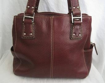 Red Pebbled Leather Fossil Shoulder Bag
