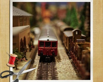 Toy Train Photography - Cushion Panel Upholstery Cotton Fabric Craft Panel, Sewing Quilting