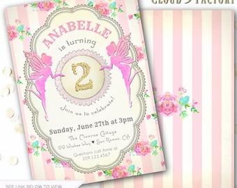 Fairy Birthday Invitation, Fairy Birthday Invite, Fairyland Theme Birthday Invites, Pink Fairies, Gold Glitter, Fairytale Birthday Invite