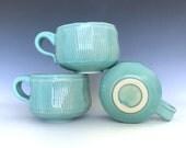 Short round mug, teal handmade mug, 10 oz coffee cup, striped mug, blue cup, stoneware wheel thrown mug, springtime, kitchen decor, chic mug
