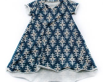 Phoenix print - Short Sleeve Dress with high low hem for baby and toddler girls sizes newborn to 5/6T