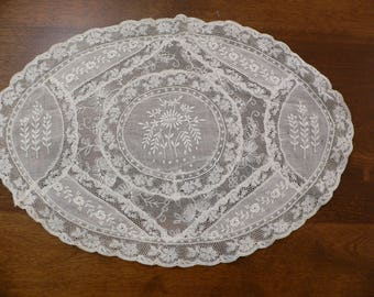 Antique Oval Normandy Lace Doilie 15 x 10.5 Inches