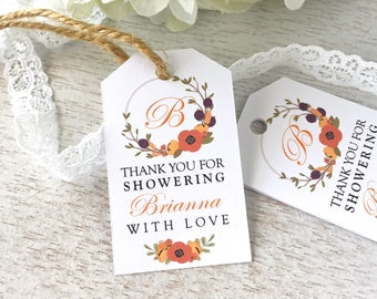 Favor tags for bridal shower, baby shower tags, fall bridal shower, thank you tags, soap favor tags, bath salts tags - set of 24(tg58)