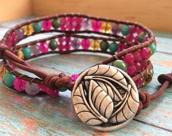 Beaded leather wrap bracelet, double wrap bracelet, boho wrap, bohemian bracelet, button closure, stone beads, glass beads