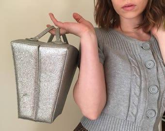 Silver glitter makeup travel case purse