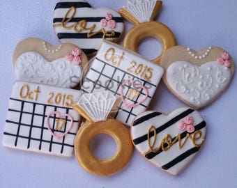 Bridal Shower Cookies, Engagement cookies,Save the date cookies,Calendar cookies,Bridal shower cookies / 1 dozen