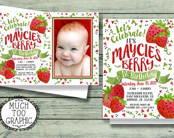 BERRY SWEET Strawberry Birthday First 2nd 3rd 4th 5th Birthday 1st w or w/o Photo Invitations Printable Bunting Printables