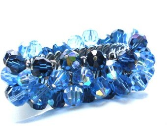 CHA CHA BRACELET Light Blue A B Dark Blue A B Glass Beads Expansion Stretch Silver Tone 50's Weighty