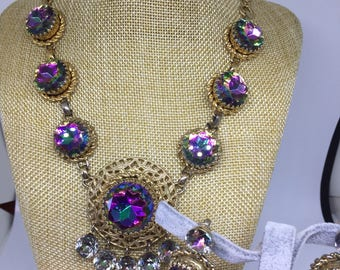 Elsa Schiaparelli wathermelon Necklace and Earrings set parure