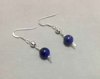 Lapis Lazuli Earrings, Lapis Earrings, Natural Lapis Lazuli, Sterling Silver Lapis Earrings, Gemstone Earrings, Lapis Lazuli Jewelry,  Blue