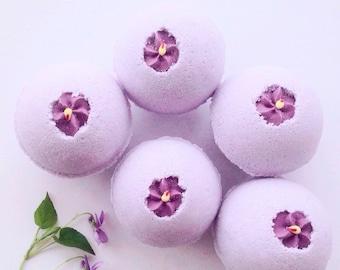 Parma Violets bath bomb, bath bomb, bath fizz, bath fragrance, Parma Violets, bath products,
