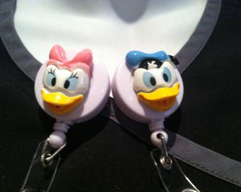 Disney© Donald Duck or Daisy Duck™ ~ ID Holder ~ Badge Reel ~ Belt Clip ~ Alligator Clip~ Retractable Badge ~ Gifts Nurses Doctors Teachers
