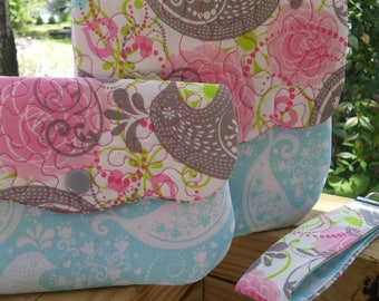 Set of 3 - Mommy and Me purse set - Pink, Light Blue and Gray