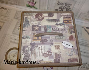 """Vintage wooden box """"The great Catsby"""" box for keepsakes, watches or jewelry for men"""