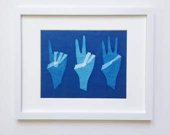 One, Two, Three - original cyanotype 8x10