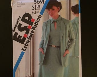 1982 Simplicity Extra Sure pattern # 5691, Misses size 14-16-18, Knit Dress and Jacket, Uncut