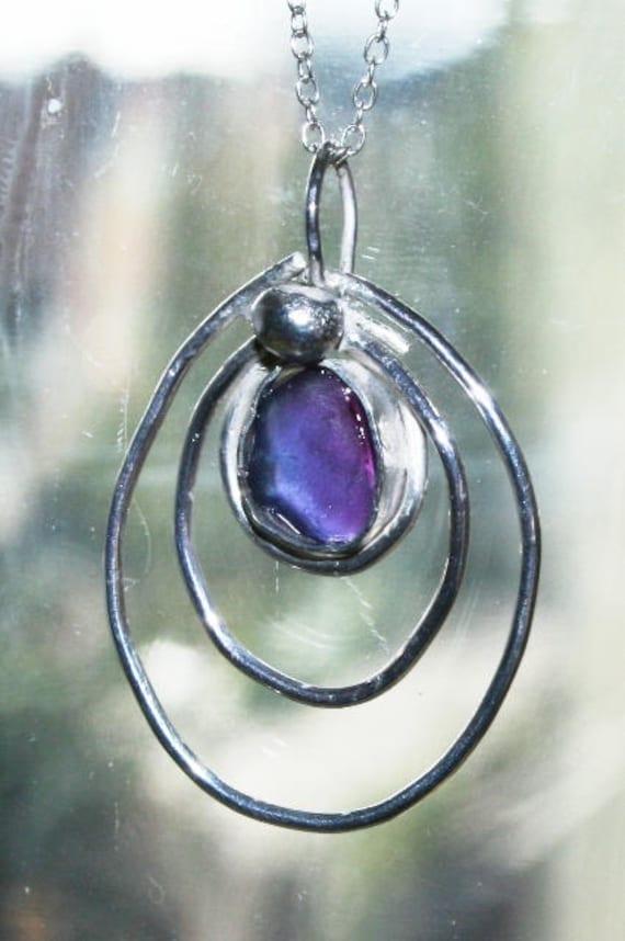 HALO PURPLE MULTI - Seaglass Pendant - Set in Sterling silver