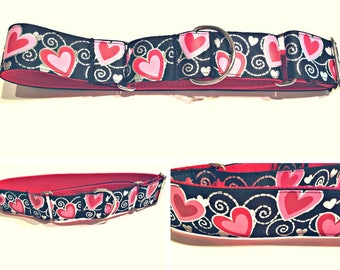 Black and Red Hearts - Dog Collar - Martingale Hearts Dog Collar - No Choke Dog Collar - Dog Gifts - Gift for Dog Lover